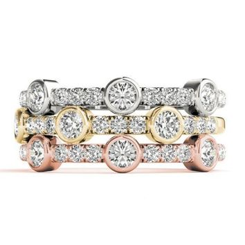 Stackables 1/2 Eternity Tri-Tone Gold Micro-Pave & Bezel-Set Diamonds 3-Band Set