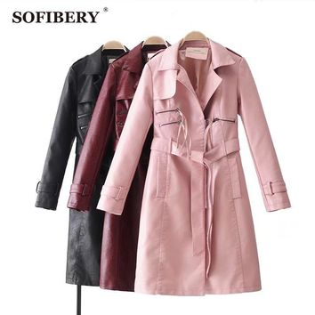 SOFIBERY Casual Jackets New Womens Fashion Faux Leather Jackets Long Coat Outerwear Coat Bow Belt FXL01
