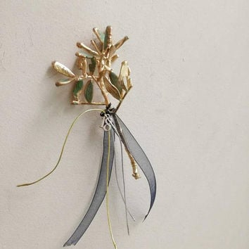 Gold schinus twig, gold twig sculpture, small gold plant sculpture, electroplated gold twig, gold teal mastic tree tree favour with 18 charm