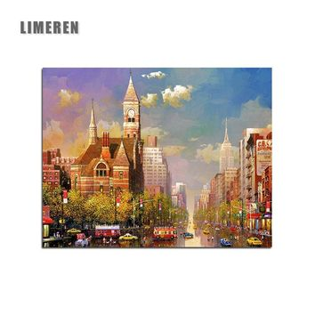 London Street Landscape Handpainted Picture  Modular Canvas Painting By Numbers For Adults Decorations Modern Wall Art Pictures