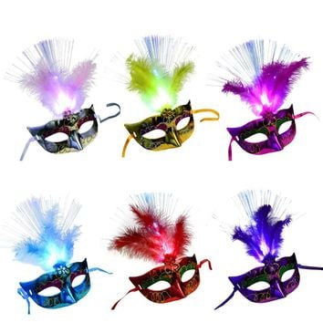 HOT Women Venetian LED Fiber Sexy Mask Masquerade Fancy Dress Party Princess Feather Masks For Masquerade Party Fancy Dress