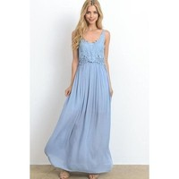 Katrina Dusty Blue Lace Maxi Dress