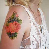 Pretty vintage floral temporary tattoo