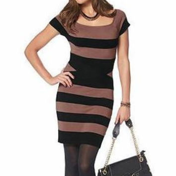 SIMPLE - Women Striped Design Slim Round Necked Short Sleeve One Piece Dress a10817