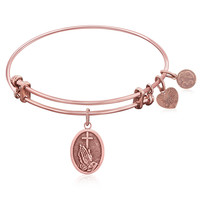 Expandable Bangle in Pink Tone Brass with The Faith Symbol