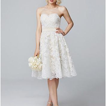 A-Line Sweetheart Neckline Knee Length Lace Over Satin Bridesmaid Dress with Buttons / Lace by LAN TING BRIDE®