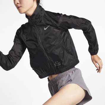 Nike Ms. Sun protection clothing skin clothing 3M reflective night running sportswear black