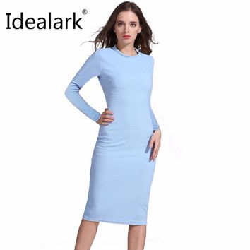 Elegant Dress Long Sleeve winter Jacquard Women Knee Length Dress O-Neck Fitness Long blue dress