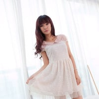Feminine Pink Lapel Collar Flowers Pattern Lace Short Sleeves Dress