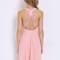 Pink Sleeveless Backless Romantic Loved Pleated Dress