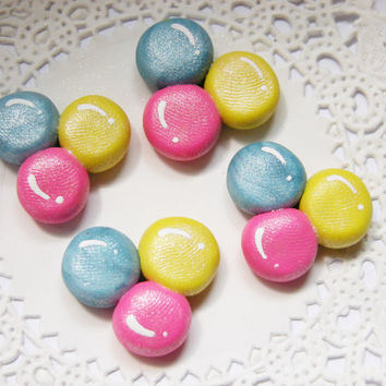 Balloon Cabochons Blue Pink Yellow Party Balloon Polymer Clay Hair Bow Centers 4 pcs