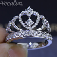 Vecalon Romantic 10mm 925 Sterling Silver Engagement Wedding Bands For Women R201