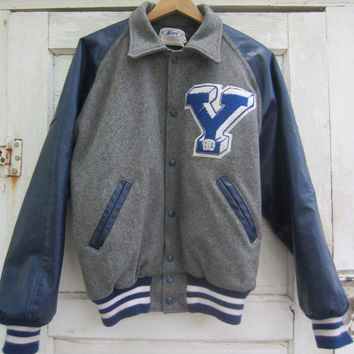 80s wool varsity jacket by neff mens l vintage grey and blue letterman
