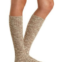 Marled Knee-High Socks by Charlotte Russe - Oatmeal