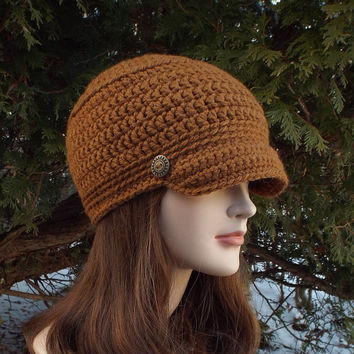 Chestnut Brown Cadet Hat - Womens Crochet Military Cap with Metal Buttons