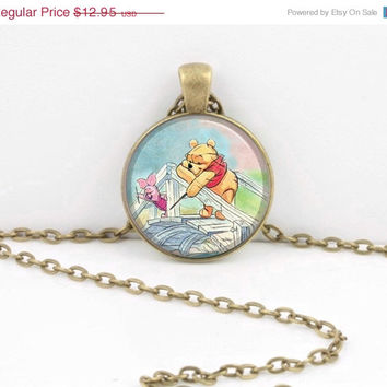 ON SALE Winnie-the-Pooh Pooh Sticks classic illustration Pooh and Piglet Pendant Necklace or Key Ring
