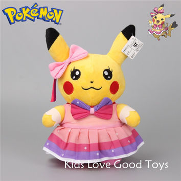 "[PCMOS] 2016 New Anime Pokemon Center Pikachu Pink Dress 10"" Plush Toy Stuffed Doll Gift  Free Shipping 3402"