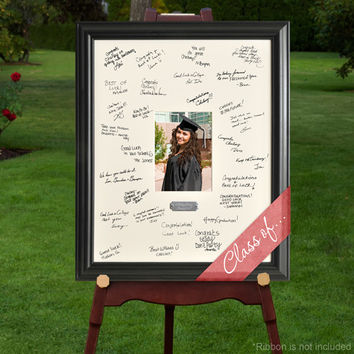 Laser Engraved Wedding Wishes Signature Frame - Graduation