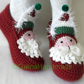 Christmas Santa  Adult Chunky Crochet Slippers  Men Children Teens Funny Wool  Red White