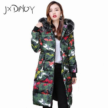 2017 Solid Color Zipper Warm Fur Fashion Hooded Quilted Coat Winter Jacket Woman  Down Cotton Parka  Slim Outwear JX18