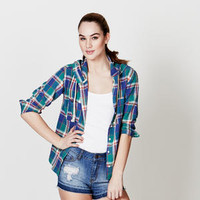 Women's Plaid Hooded Woven