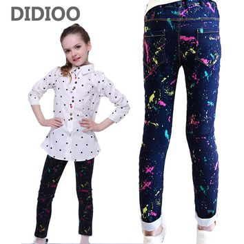 Kids Girls Jeans Graffiti Pencil Pants For Girls Clothing Children Denim Trousers 4 5 6 7 8 9 11 12 Years Spring Autumn Costumes