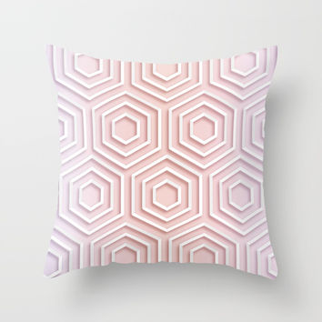 3D Hexagon Gradient Minimal Minimalist Geometric Pastel Soft Graphic Rose Gold Pink Throw Pillow by AEJ Design