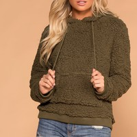 Evergreen Olive Sherpa Pullover Hoodie Top