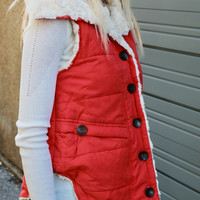 Aspen Slopes Red Button Down Fur Lined Puffer