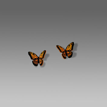 Sienna Sky Earrings - Small Folded Monarch Butterfly on Hypoallergenic Posts