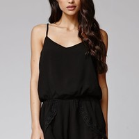 Lucca Couture Crochet Trim Romper - Womens Dress - Black