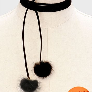 "70"" black faux suede pom pom faux fur collar wrap choker necklace"