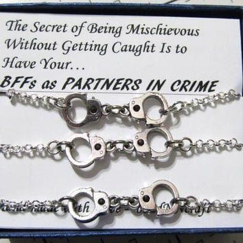 3 Nickel and Lead Free 'Mischievous' Partners in Crime handcuff bracelets - silver tone Rolo Chain- Friendship quote gift