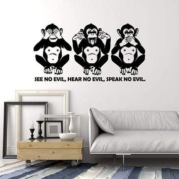 Vinyl Wall Decal Three Monkey Animal Quote Words See No Evil Stickers (2726ig)
