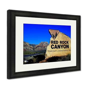 Framed Print, Entrance Sign Red Rock Canyon National Conservation Area Las Vegas Nevada USA