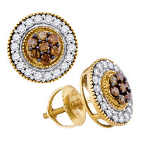 Cognac Diamond Fashion Earrings in 10k Gold 0.62 ctw