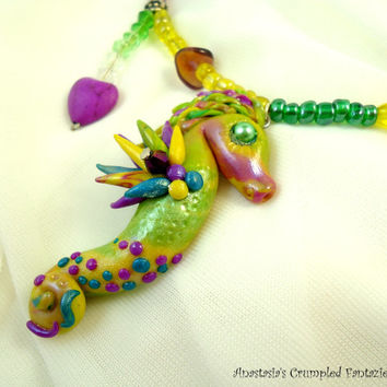 Purple yellow green polymer clay seahorse necklace, Underwater creature pendant, Sea horse mermaid, glass beads jewelry, howlite heart beads