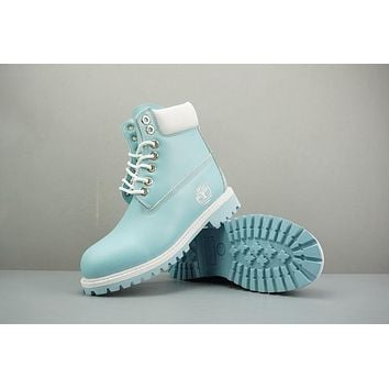 Timberland Leather Lace-Up Boot High Ice Blue White