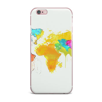 "Oriana Cordero ""World Map"" Rainbow White iPhone Case"