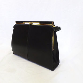 Classic Vintage BB and B Travel Goods1950s 60s Black Genuine Leather Gold Tone Square Box Purse Clutch Shell Chic Classic Mod Mad Men