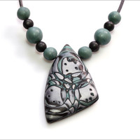 "Jade Green Necklace, Adjustable Tribal Jewelry, Mint Winter And Spring Fashion, ""Sunday Rain"" by JagnaB - jagnaB"
