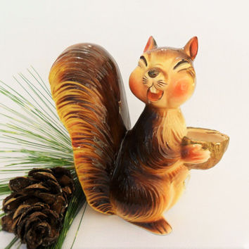 Vintage Squirrel Statue Figurine Salem Oregon Centennial Funny Ceramic Squirrel Huffy Puff Salem Nut Growers Succulent Planter Cabin Decor