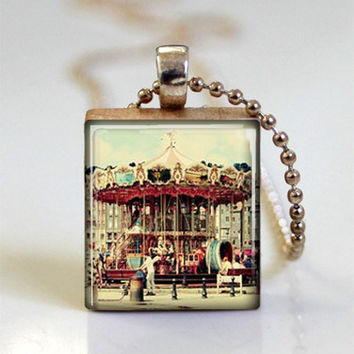 Scrabble Tile Jewelry Vintage Merry Go Round Carousel Necklace Carnival Art Pendant with Ball Chain Included (ITEM S157)