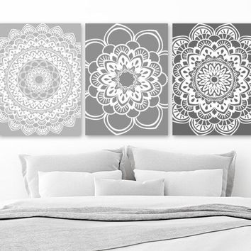 Mandala Wall Art, Gray BATHROOM Wall Decor Canvas or Print Gray Ombre Mandala Decor, Medallion Wall Art, Gray Bedroom Wall Decor Set of 3