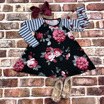 RTS Black/Burgundy Floral Dress D29
