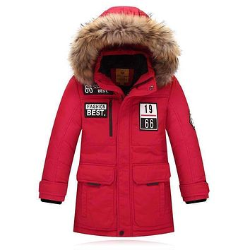 Brand Fashion Children's Down Jackets/coat winter fur Big boy Coat thick duck Down feather jacket Outerwear cold winter-40degree