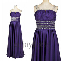 Custom Purple Beaded Long Prom Dress Formal Evening Gowns Wedding Party Dresses Formal Party Dresses Bridesmaid Dresses 2014 Cocktail Dress