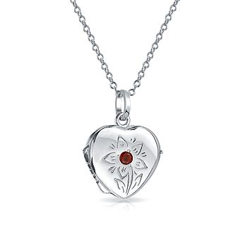 Small Simulated Red Garnet CZ Locket Necklace That Hold Picture Photo