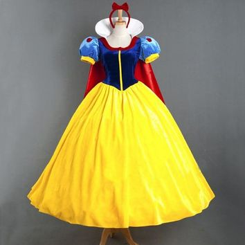 Deluxe Snow White Costume Fairytale Princess Cosplay Long Dress Gown For Adult Women and Girl Kids