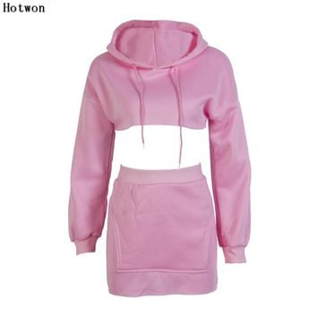 2 piece set women suit crop hoodie set top skirt female winter hooded sweatshirt tracksuit outfit two piece set